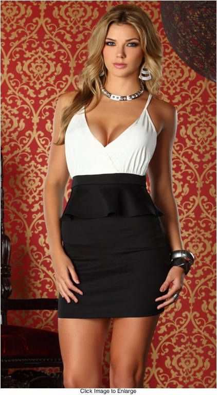Peplum Black and White Dress