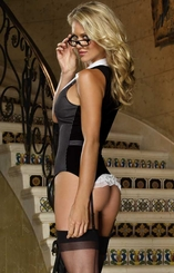 Classy Tux Lingerie Costume with Garter Top, Thong and Glasses