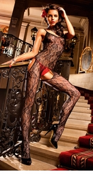 Flower Lace Suspender Bodystocking