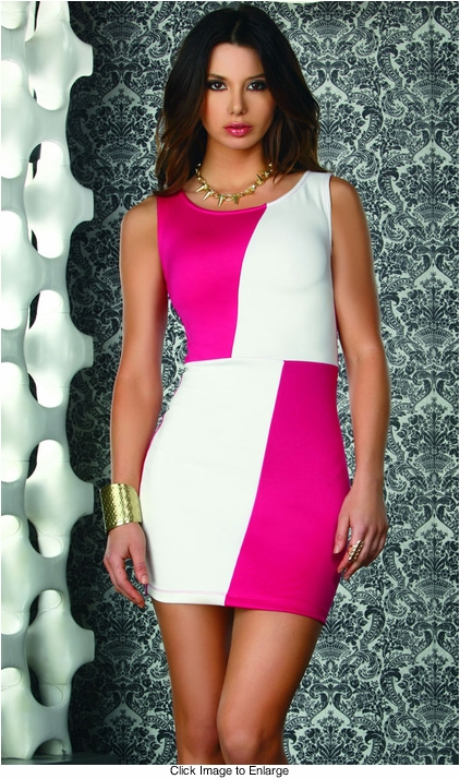 Pink and White Colorblock Dress