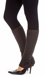 Knit Leg Warmers with Buckle Detail
