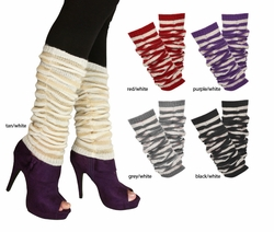 Stripe Knit Leg Warmers