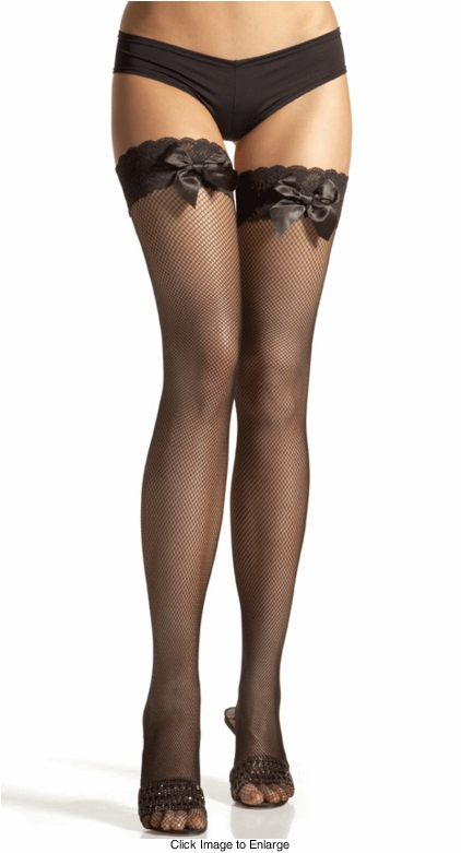 Fishnet Thigh High Stockings with Lace Top and Satin Ribbon
