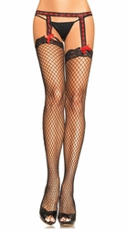 Industrial Net Fishnet Garter Stockings with Satin Ribbon Accents