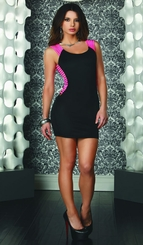 Black Dress with Pink Elastic Strap Sides