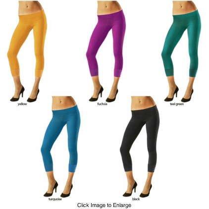 Capri Length Opaque Leggings with Studs