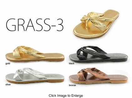 Flip Flops with Supple Metallic Straps