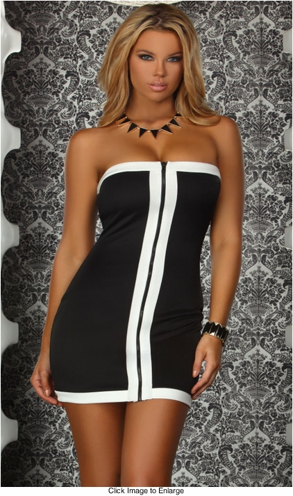 Black Dress with Contrast Front Zipper