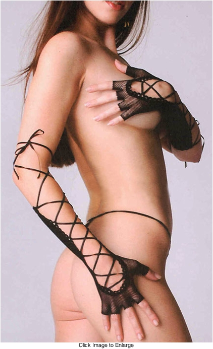 Long Fishnet Gloves with Satin Lacing
