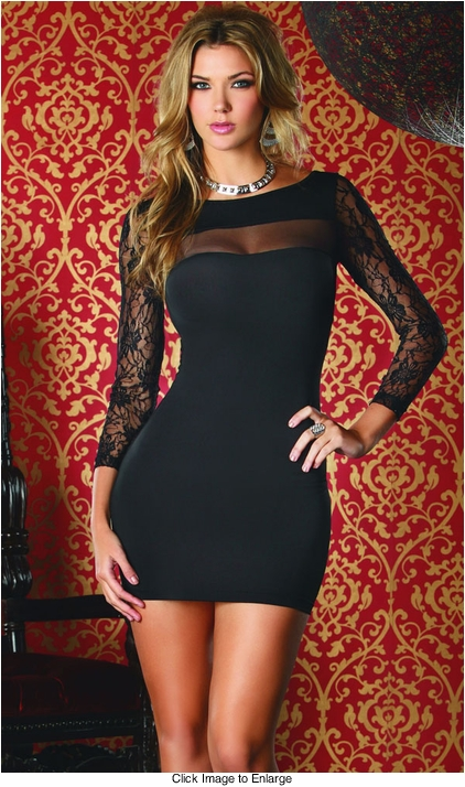 Long Sleeve Dress with Lace Detail