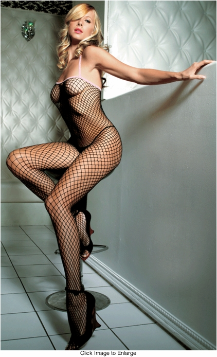 Seamless Large Fishnet Bodystocking with Eyelet Trim