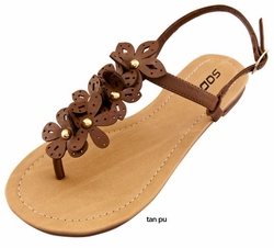 Cute Tan Thong Sandals with Flower Detail