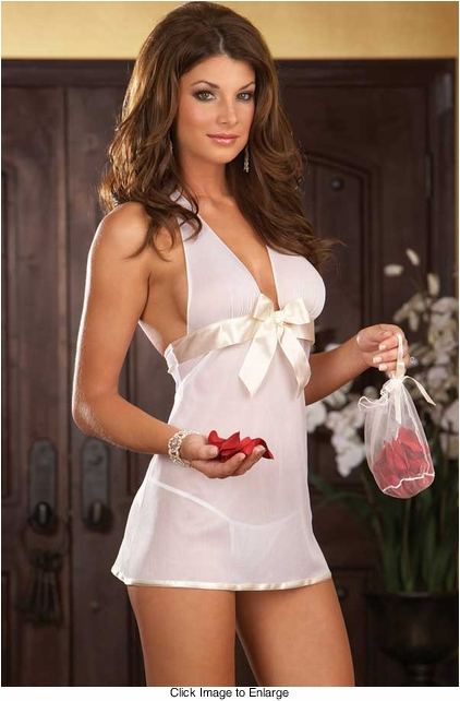 Chiffon Halter Babydoll, Thong and Satchel with Rose Petals