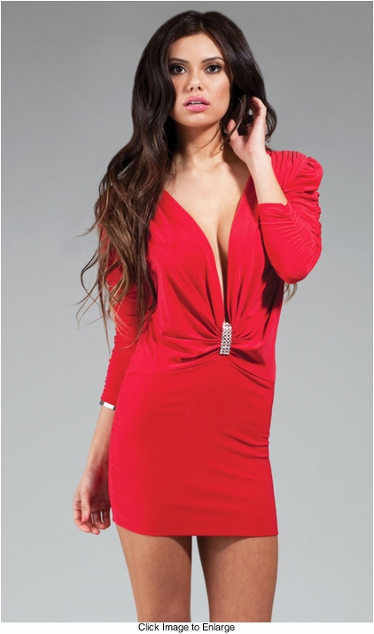 Plunging Neckline Dress with Puffed Shoulders and Crystal Brooch in  Red