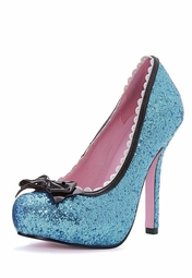 "5"" Blue Glitter Pump Shoes with Bow"
