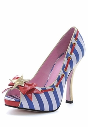 "4"" Sailor Stripe Peep Toe Shoes"