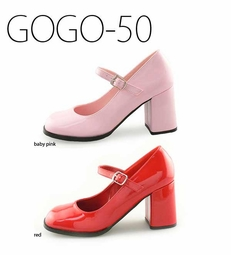 "3"" Patent Leather Mary Jane's in Baby Pink or Red Vinyl"
