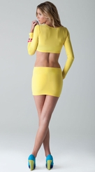 Yellow Long Sleeve Dress with Open Back