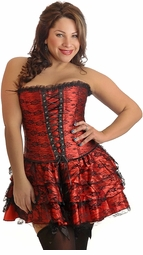 Plus Size Red Lace Corset Dress