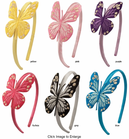 Embroidered Butterfly Headband