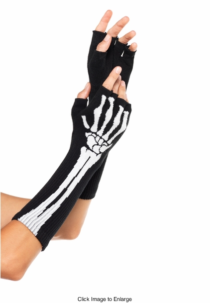 Woven Skeleton Fingerless Gloves