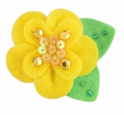 "2"" Felt and Crystal Flower Hair Clips in Yellow for $5.00"