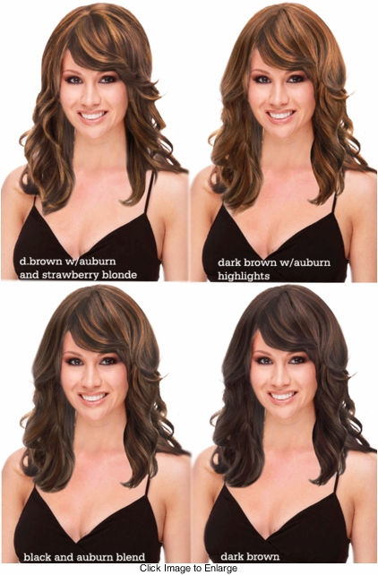 Layered Human Hair Blend Wig with Side Swept Bangs - Dark Blends