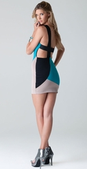 Asymmetrical Color Blocked Dress