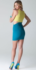 Yellow Colorblocked Tank Dress with Cut-Out Sides