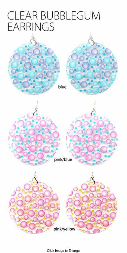 Clear Bubblegum Earrings