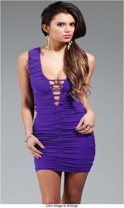 Fox Shirred Little Purple Dress