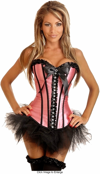 Coral Satin Corset with Rhinestone Front and Petticoat
