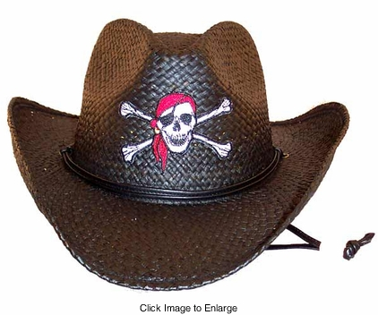 Cowgirl Hat with Pinched Front and Pirate Patch