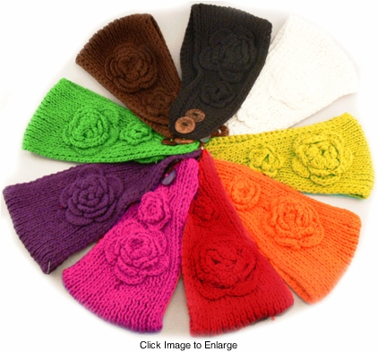 Cotton Knit Headband with Flower Accent