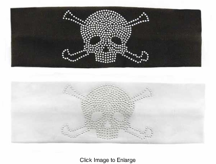 Cotton Knit Headband With Studded Pirate Skull