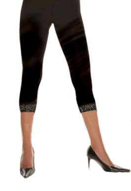 Cotton Knit Leggings with Sequined Lace Trim