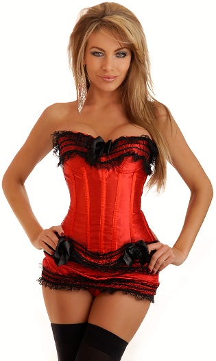 Red Satin and Black Lace Corset and Skirt