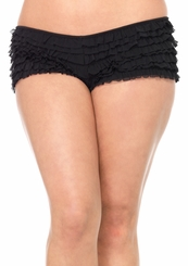 Plus Size Ruffle Black Boy Shorts with Satin Bow