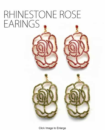 Crystal Flower Dangle Earrings