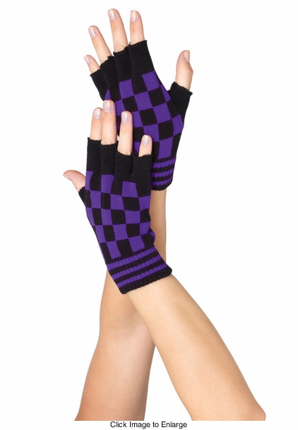 Checkered Fingerless Gloves