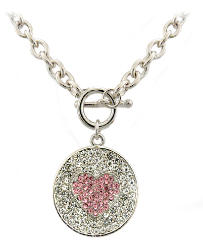 Crystal Heart Round Pendant Necklace