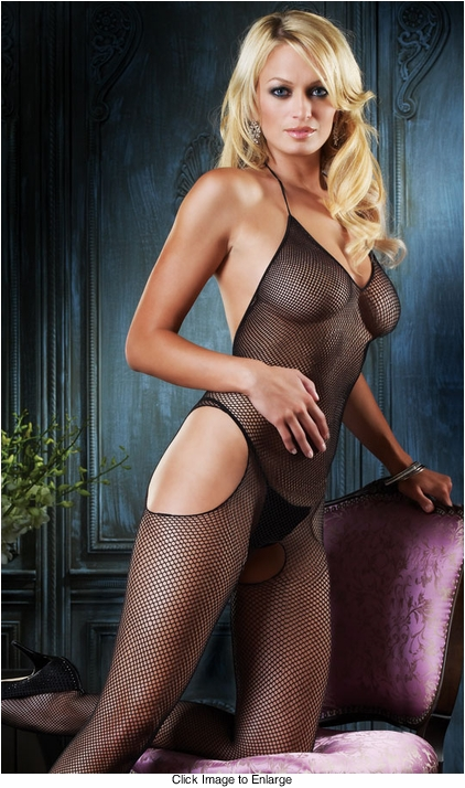Halter Bodystocking with Side Cutouts