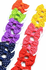 "2.5"" Polka Dot Ribbon Bow Hair Clips Pair (available in 7 colors)"