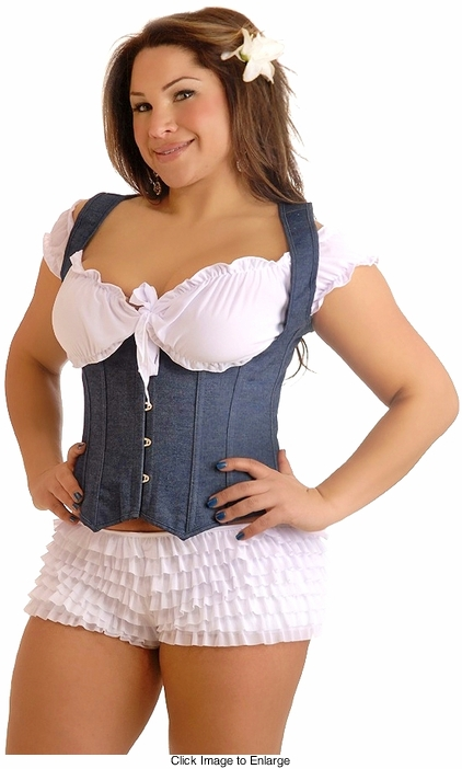 Plus Size Blue 'Denim Dream' Underbust Corset