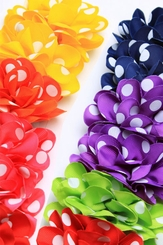 "4"" Polka Dot Ribbon Hair Clip (available in 7 colors)"