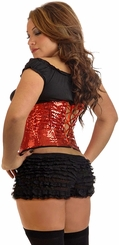 Plus Size Red Sequin Underbust Corset