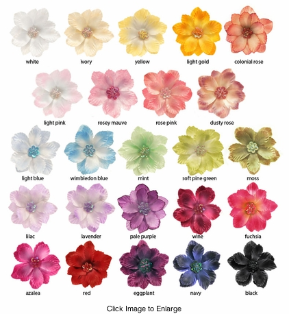 "2.15"" Scalloped Petals and Sequin Center Flower Hair Clips (24 colors)"