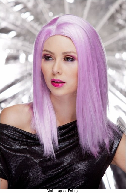 Straight Wig with Razored Edges in Lilac Purple