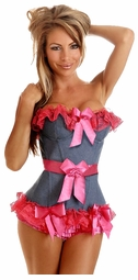 Pin-Up Denim Ruffled Corset