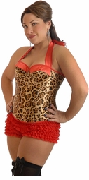 Plus Size Leopard Pin-Up Halter Corset